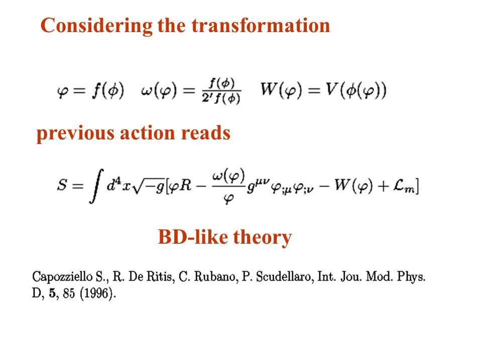 Considering the transformation previous action reads BD-like theory