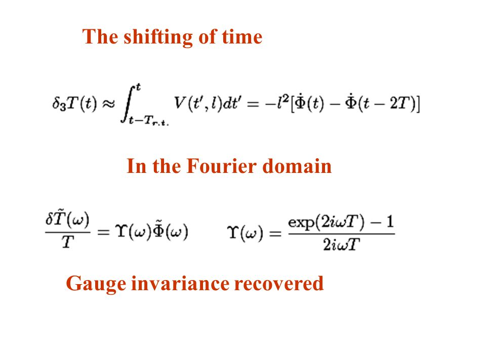 The shifting of time Gauge invariance recovered In the Fourier domain