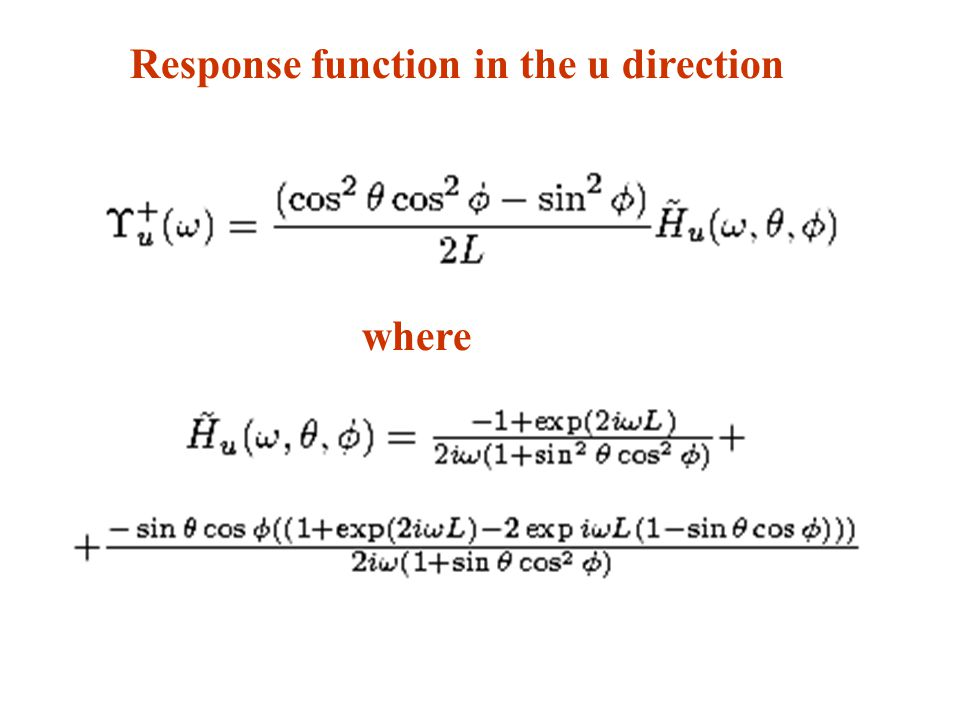 Response function in the u direction where