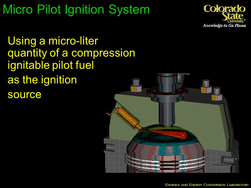 Engines and Energy Conversion Laboratory Micro Pilot Ignition System Using a micro-liter quantity of a compression ignitable pilot fuel as the ignition source