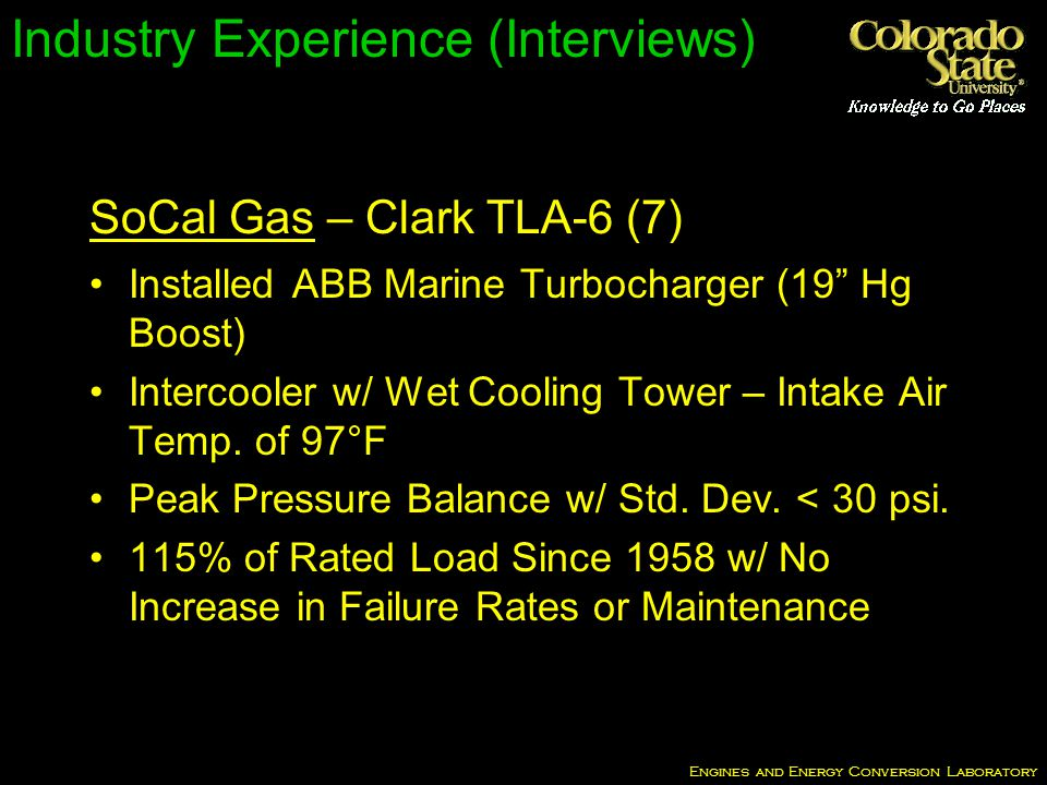 Engines and Energy Conversion Laboratory Industry Experience (Interviews) Installed ABB Marine Turbocharger (19 Hg Boost) Intercooler w/ Wet Cooling Tower – Intake Air Temp.