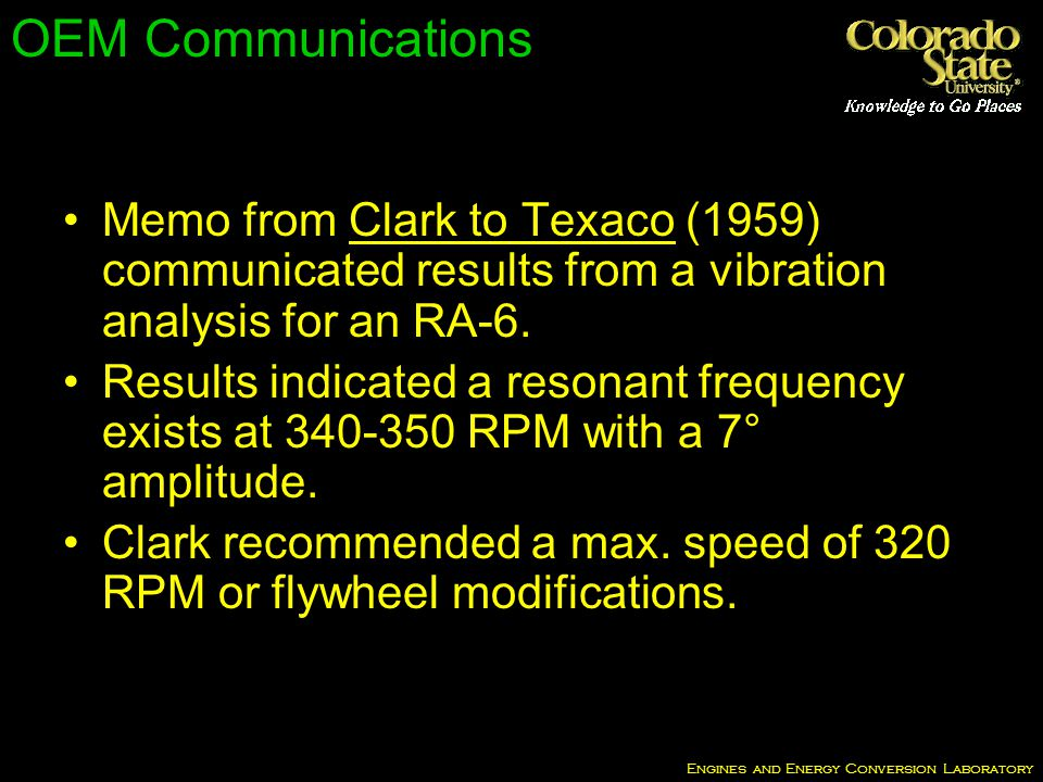 Engines and Energy Conversion Laboratory OEM Communications Memo from Clark to Texaco (1959) communicated results from a vibration analysis for an RA-6.