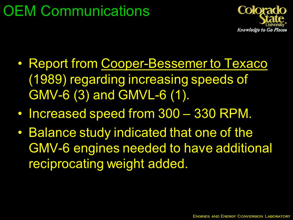 Engines and Energy Conversion Laboratory OEM Communications Report from Cooper-Bessemer to Texaco (1989) regarding increasing speeds of GMV-6 (3) and GMVL-6 (1).