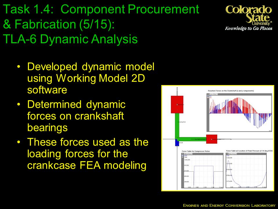 Engines and Energy Conversion Laboratory Task 1.4: Component Procurement & Fabrication (5/15): TLA-6 Dynamic Analysis Developed dynamic model using Working Model 2D software Determined dynamic forces on crankshaft bearings These forces used as the loading forces for the crankcase FEA modeling