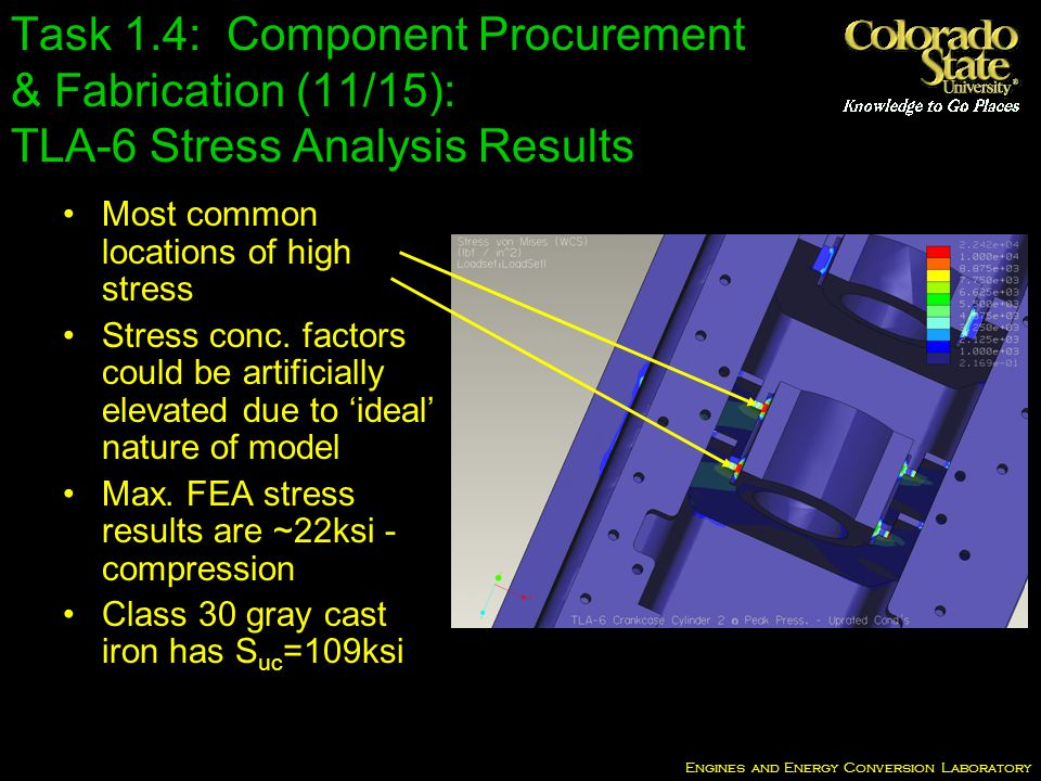 Engines and Energy Conversion Laboratory Task 1.4: Component Procurement & Fabrication (11/15): TLA-6 Stress Analysis Results Most common locations of high stress Stress conc.