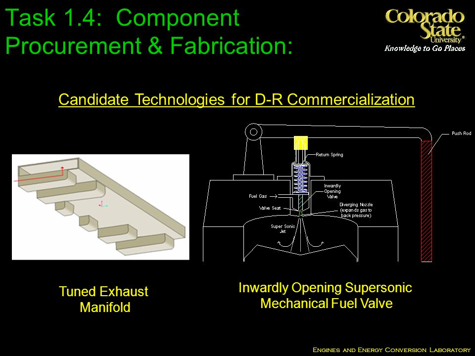 Engines and Energy Conversion Laboratory Candidate Technologies for D-R Commercialization Inwardly Opening Supersonic Mechanical Fuel Valve Tuned Exhaust Manifold Task 1.4: Component Procurement & Fabrication: