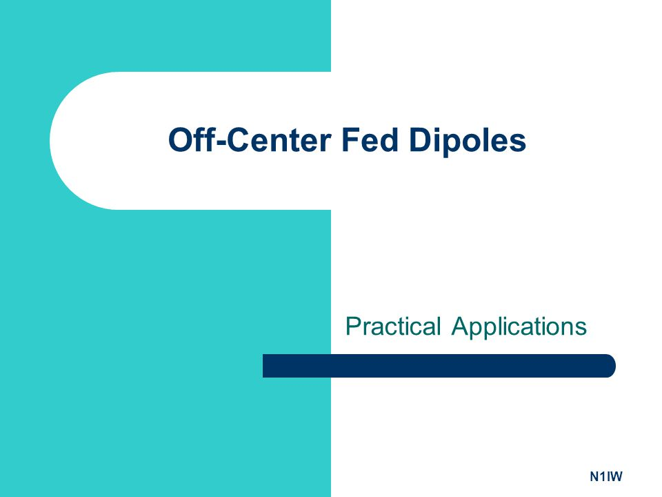 N1IW Off-Center Fed Dipoles Practical Applications