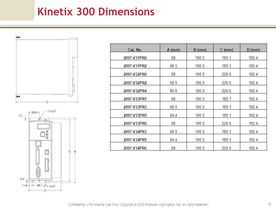 Kinetix 300 Dimensions Cat. No.A (mm)B (mm)C (mm)D (mm) 2097-V31PR068190.5185.1182.4 2097-V31PR268.5190.5185.1182.4 2097-V32PR068190.5229.6182.4 2097-