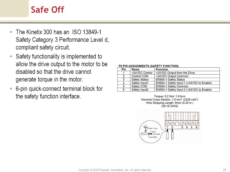 Copyright © 2009 Rockwell Automation, Inc. All rights reserved. 28 Safe Off The Kinetix 300 has an ISO 13849-1 Safety Category 3 Performance Level d,