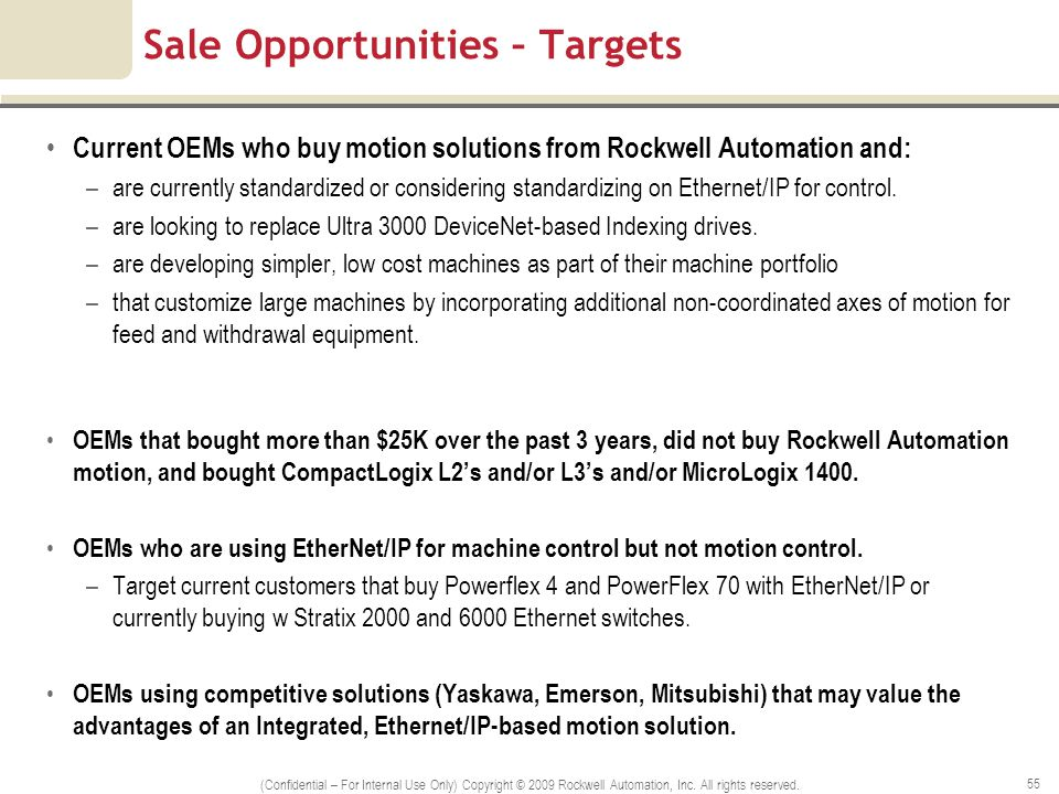 Sale Opportunities – Targets Current OEMs who buy motion solutions from Rockwell Automation and: –are currently standardized or considering standardiz