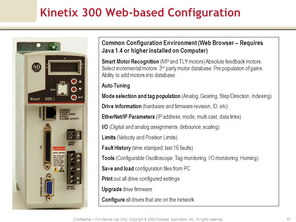 Kinetix 300 Web-based Configuration (Confidential – For Internal Use Only) Copyright © 2009 Rockwell Automation, Inc. All rights reserved. 61 Common C