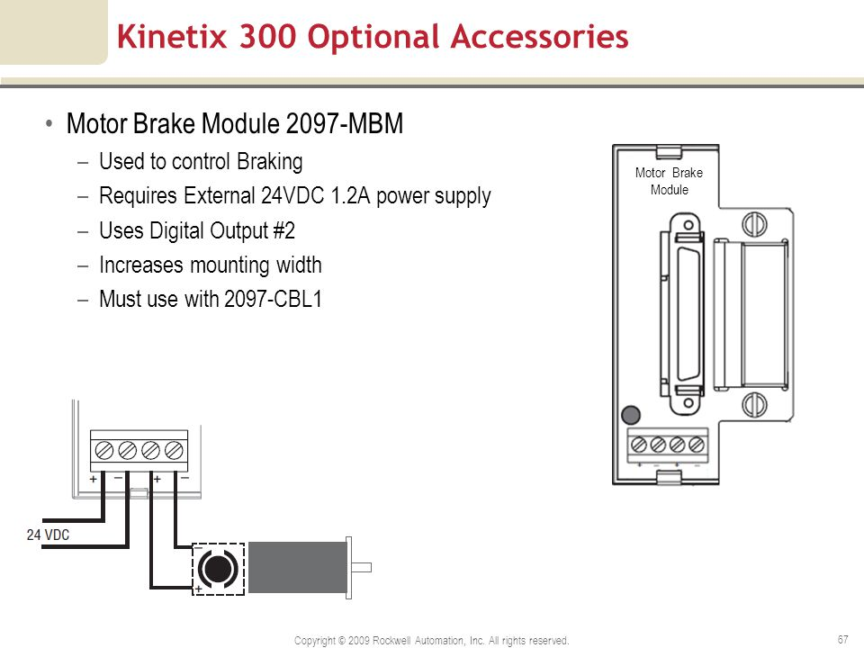Kinetix 300 Optional Accessories Motor Brake Module 2097-MBM –Used to control Braking –Requires External 24VDC 1.2A power supply –Uses Digital Output