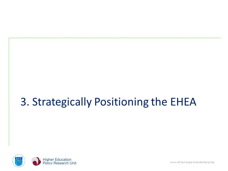www.dit.ie/researchandenterprise 3. Strategically Positioning the EHEA