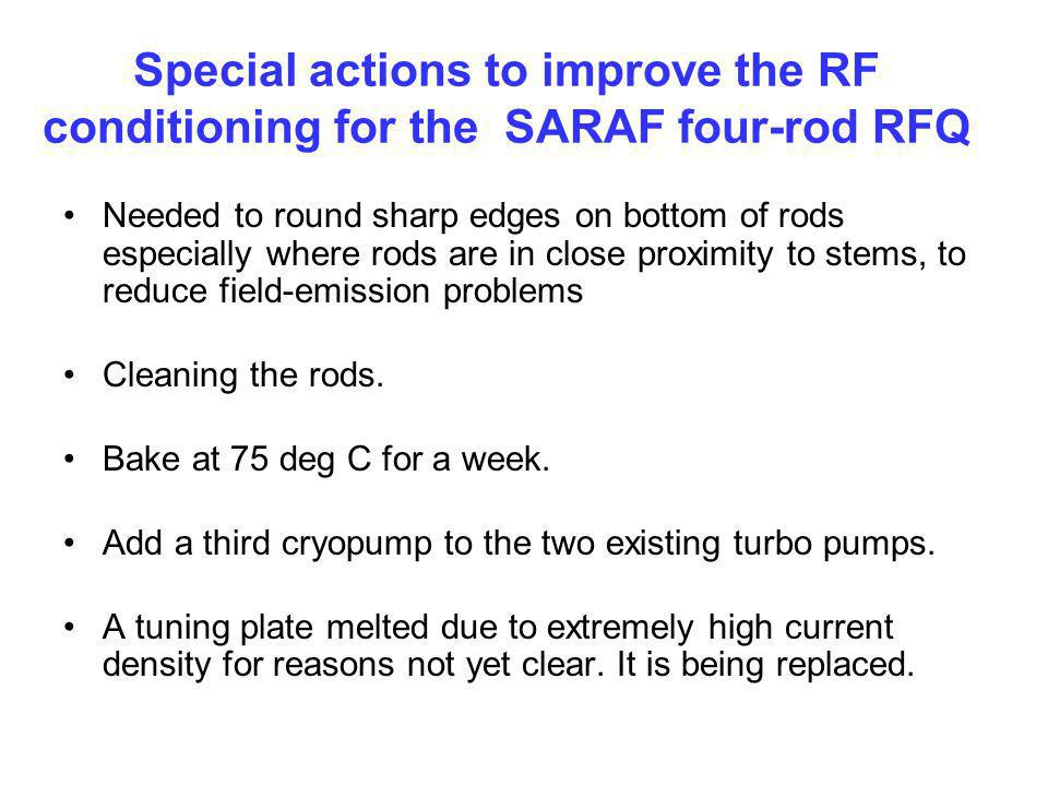 Special actions to improve the RF conditioning for the SARAF four-rod RFQ Needed to round sharp edges on bottom of rods especially where rods are in c