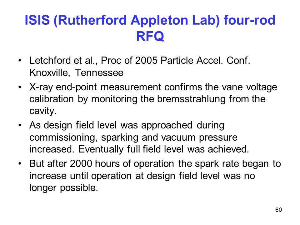 ISIS (Rutherford Appleton Lab) four-rod RFQ Letchford et al., Proc of 2005 Particle Accel. Conf. Knoxville, Tennessee X-ray end-point measurement conf