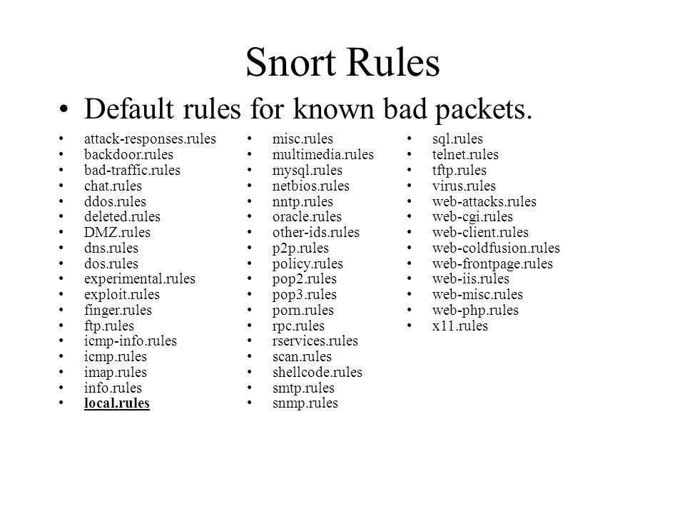 Snort Rules Default rules for known bad packets.