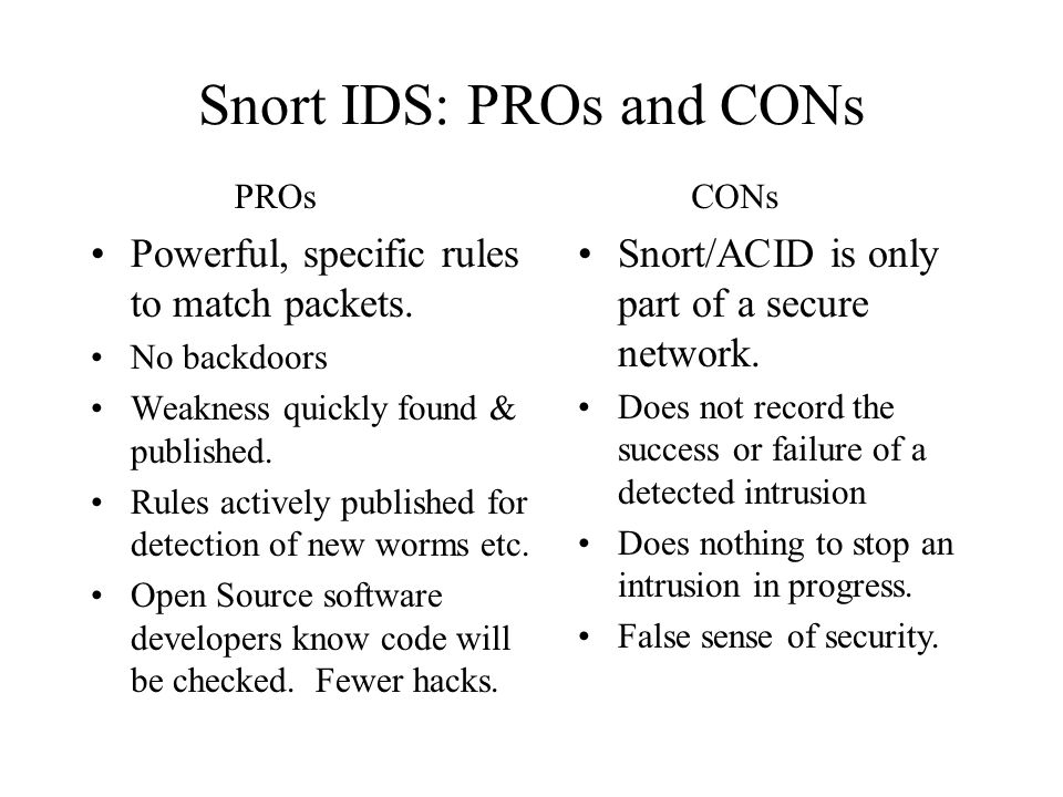 Snort IDS: PROs and CONs Powerful, specific rules to match packets.