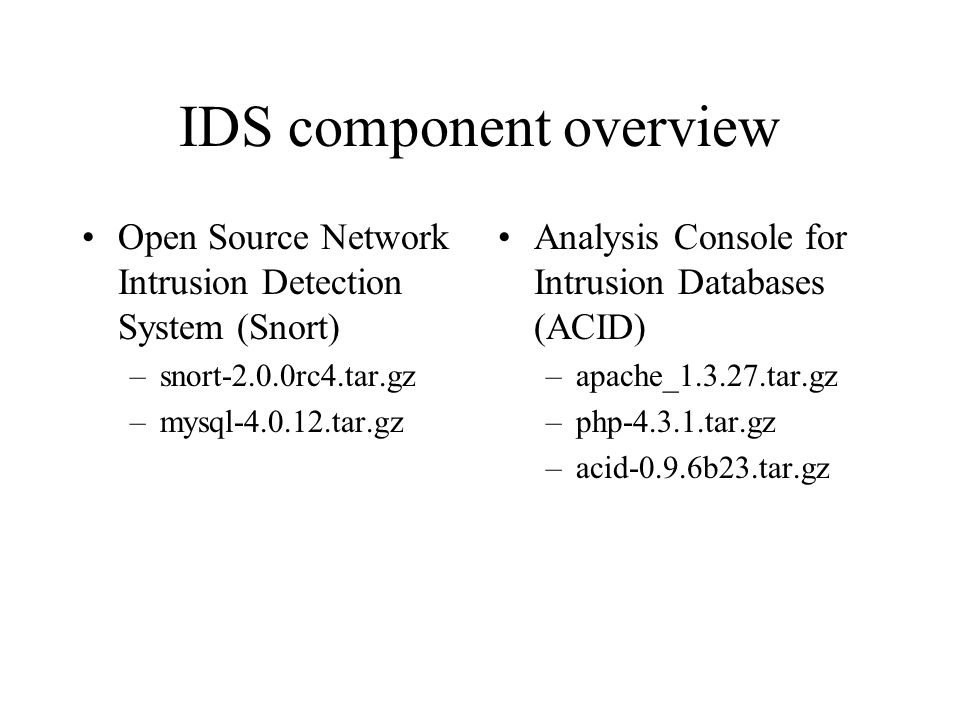 IDS component overview Open Source Network Intrusion Detection System (Snort) –snort-2.0.0rc4.tar.gz –mysql tar.gz Analysis Console for Intrusion Databases (ACID) –apache_ tar.gz –php tar.gz –acid-0.9.6b23.tar.gz
