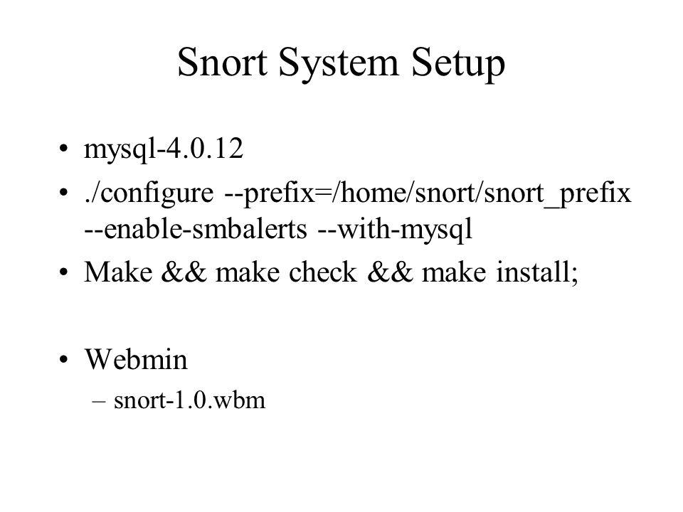 Snort System Setup mysql-4.0.12./configure --prefix=/home/snort/snort_prefix --enable-smbalerts --with-mysql Make && make check && make install; Webmin –snort-1.0.wbm