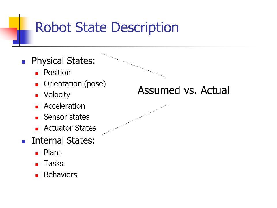 Robot State Description Physical States: Position Orientation (pose) Velocity Acceleration Sensor states Actuator States Internal States: Plans Tasks