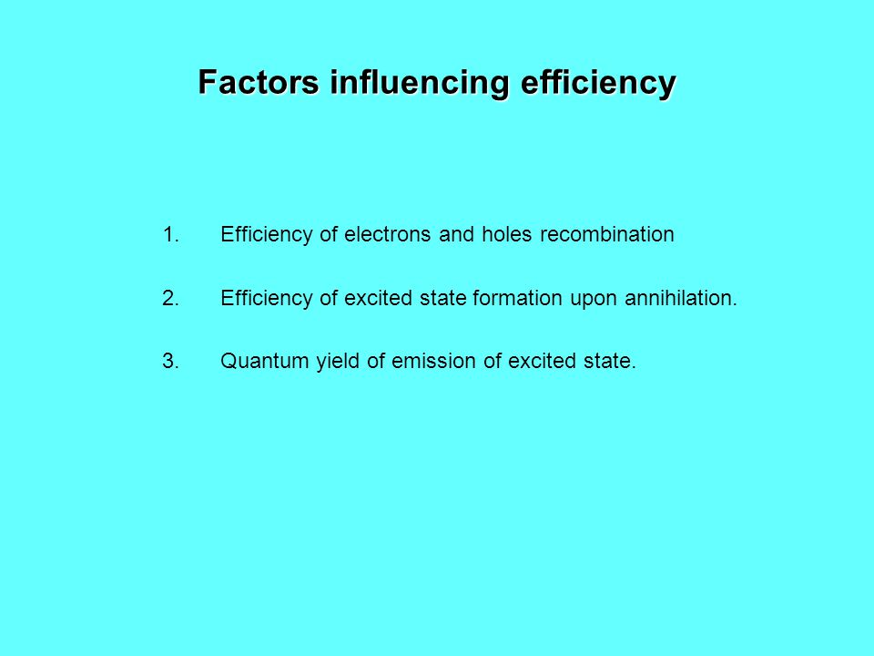 Factors influencing efficiency 1.Efficiency of electrons and holes recombination 2.Efficiency of excited state formation upon annihilation.