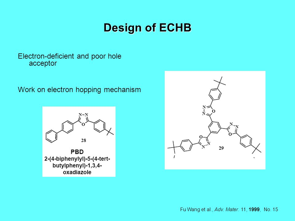 Design of ECHB Electron-deficient and poor hole acceptor Work on electron hopping mechanism Fu Wang et al., Adv.