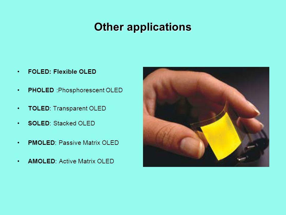 Other applications FOLED: Flexible OLED PHOLED :Phosphorescent OLED TOLED: Transparent OLED SOLED: Stacked OLED PMOLED: Passive Matrix OLED AMOLED: Active Matrix OLED