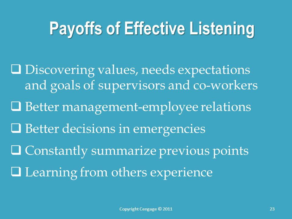 Payoffs of Effective Listening Discovering values, needs expectations and goals of supervisors and co-workers Better management-employee relations Bet
