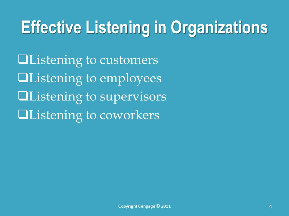 Effective Listening in Organizations Listening to customers Listening to employees Listening to supervisors Listening to coworkers Copyright Cengage ©