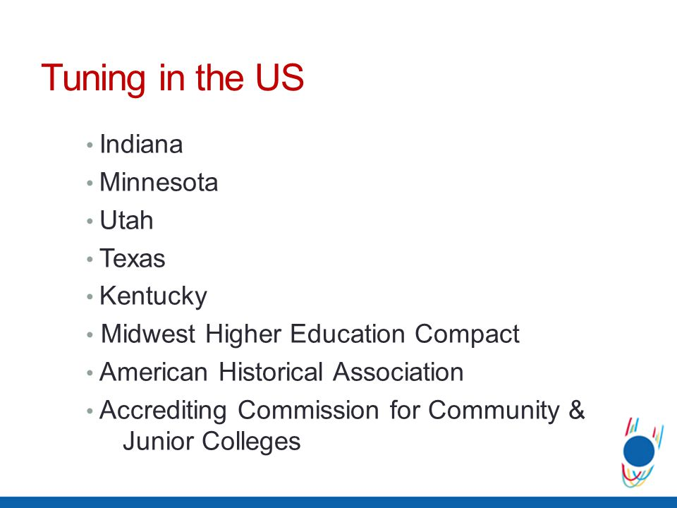 Tuning in the US Indiana Minnesota Utah Texas Kentucky Midwest Higher Education Compact American Historical Association Accrediting Commission for Com