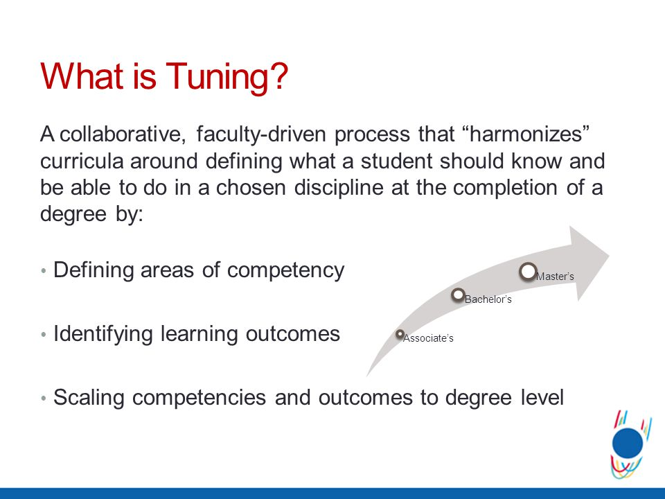 Tunings Key Premises Curricula should not be standardized Faculty control the discipline Academic autonomy and flexibility are essential