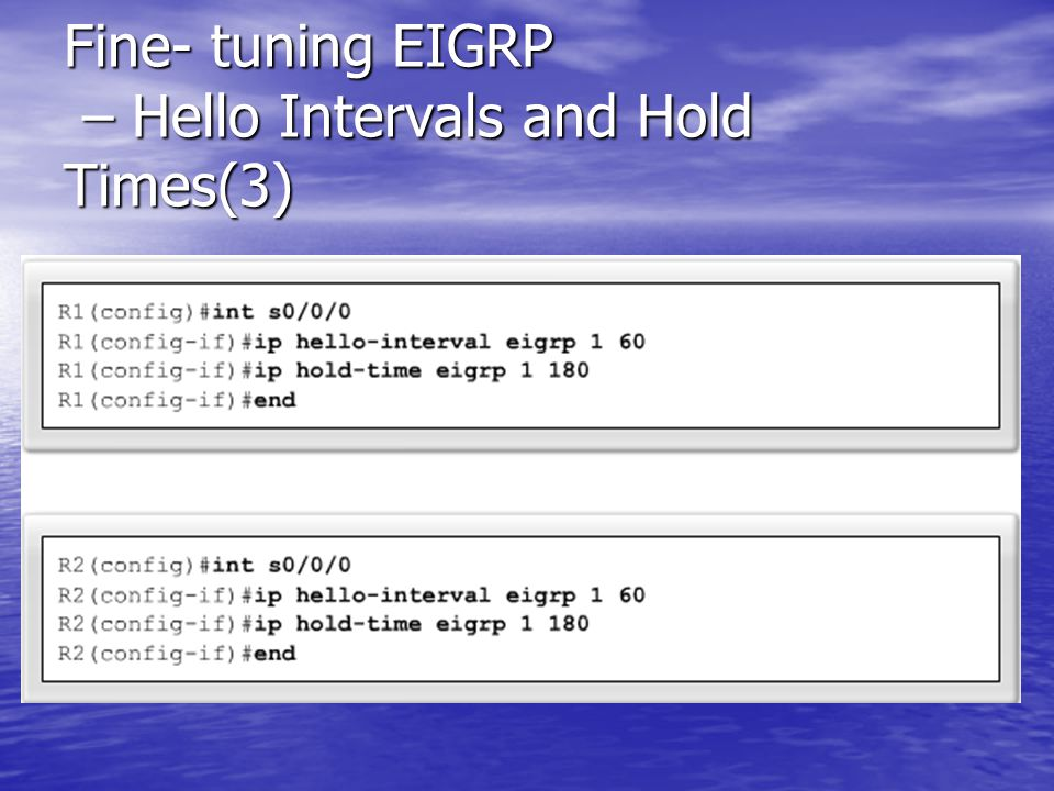 Fine- tuning EIGRP – Hello Intervals and Hold Times(3)