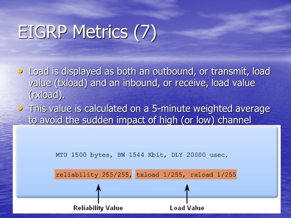 EIGRP Metrics (7) Load is displayed as both an outbound, or transmit, load value (txload) and an inbound, or receive, load value (rxload). Load is dis
