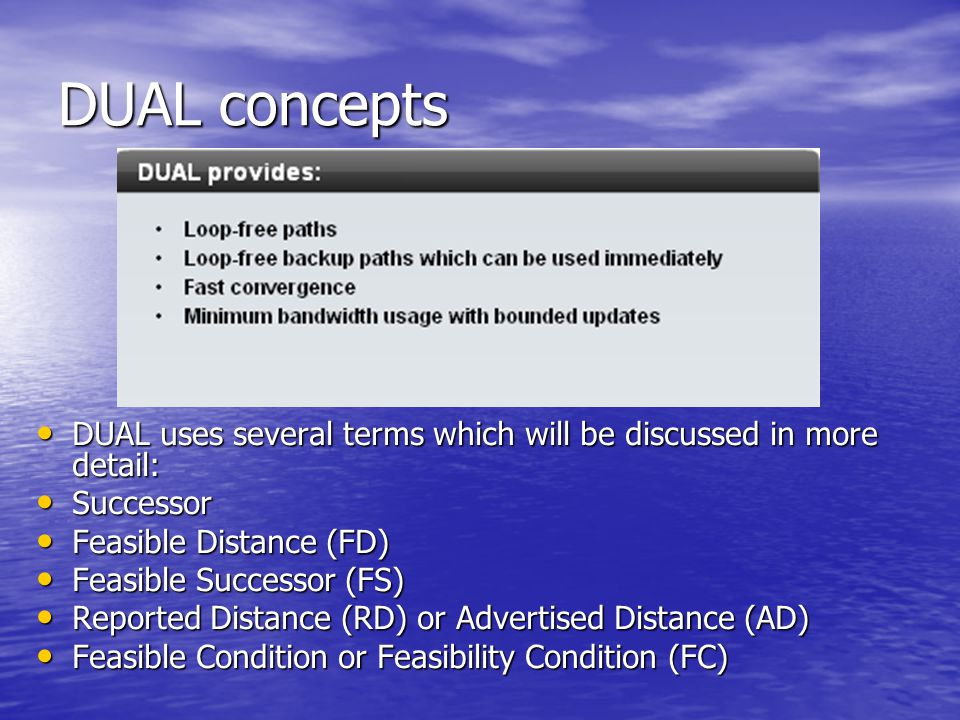 DUAL concepts DUAL uses several terms which will be discussed in more detail: DUAL uses several terms which will be discussed in more detail: Successo