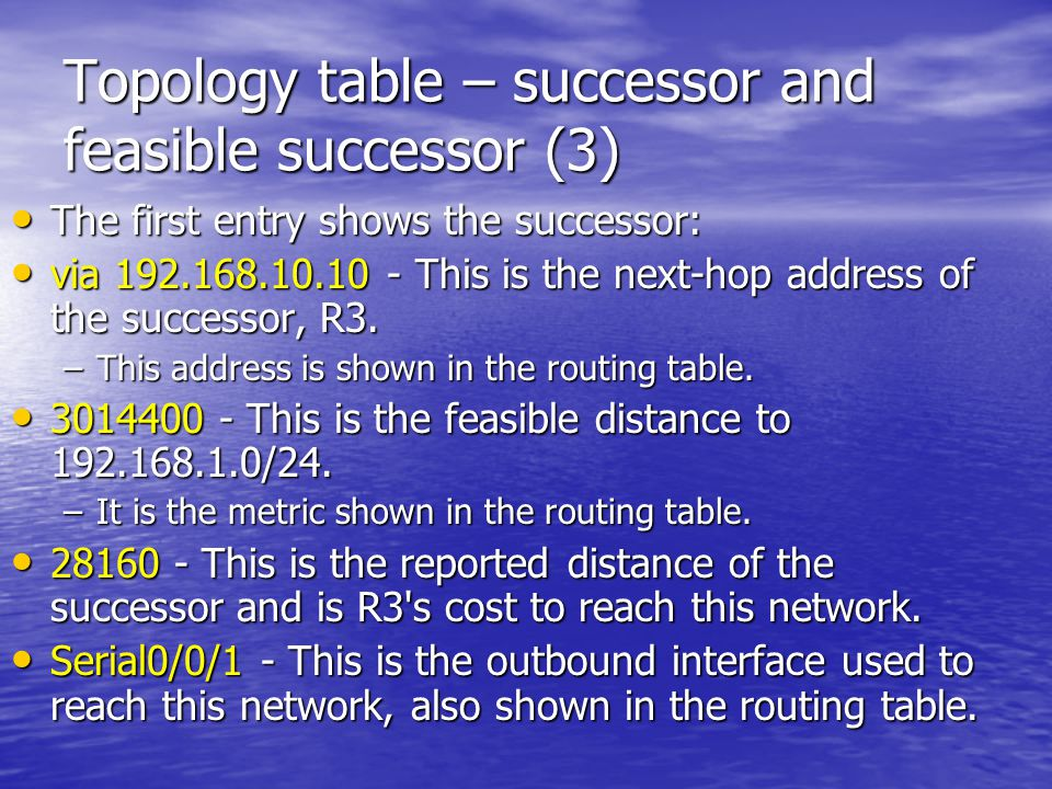 Topology table – successor and feasible successor (3) The first entry shows the successor: The first entry shows the successor: via 192.168.10.10 - Th