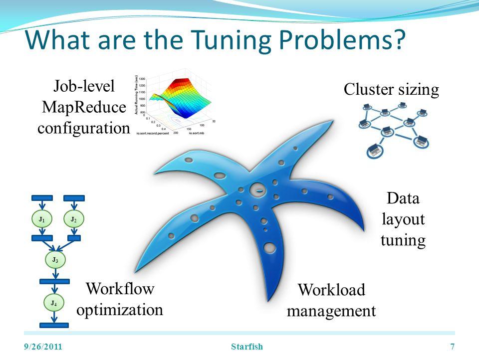 Job Optimizer Evaluation 9/26/201128 Hadoop cluster: 30 nodes, m1.xlarge Data sizes: 60-180 GB Starfish
