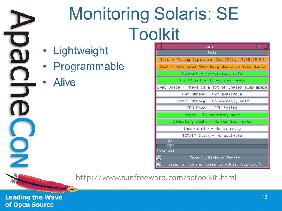 Monitoring Solaris: SE Toolkit Lightweight Programmable Alive 13 http://www.sunfreeware.com/setoolkit.html
