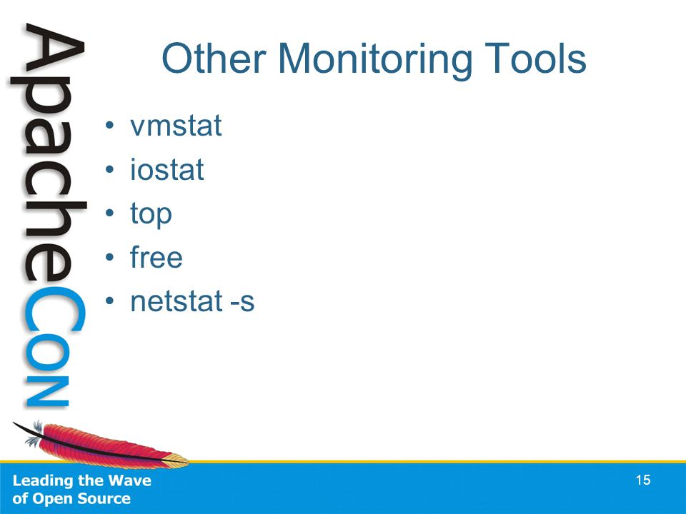 Other Monitoring Tools vmstat iostat top free netstat -s 15