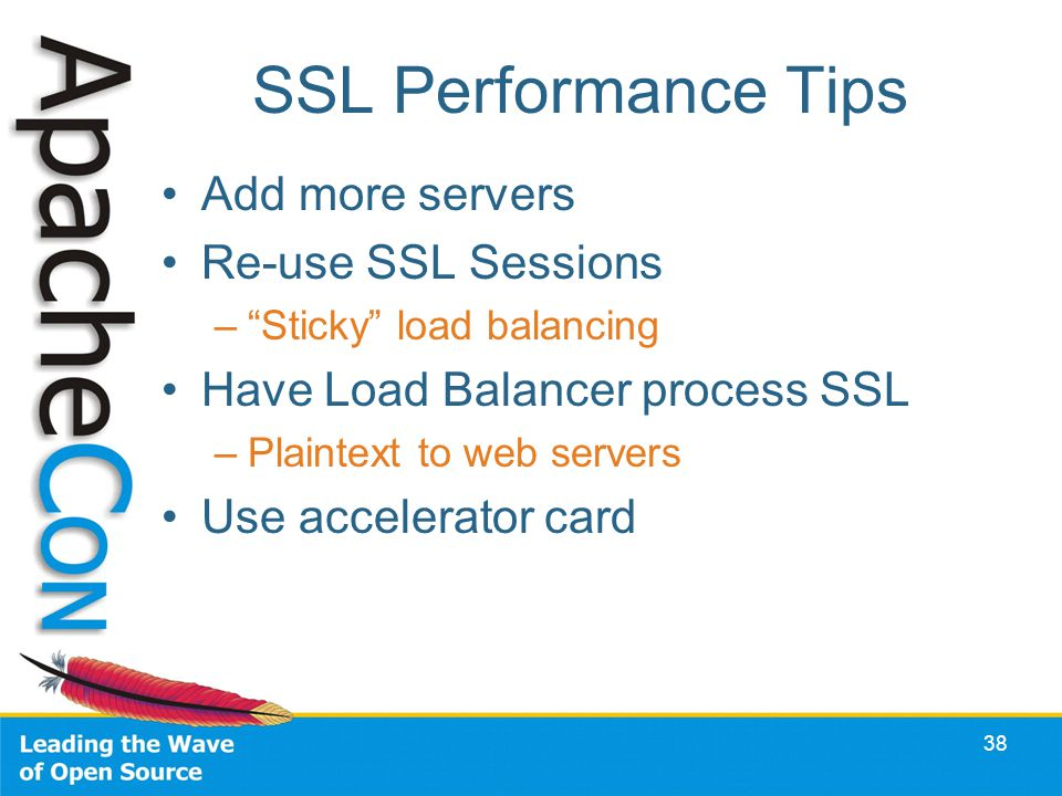 SSL Performance Tips Add more servers Re-use SSL Sessions –Sticky load balancing Have Load Balancer process SSL –Plaintext to web servers Use accelerator card 38