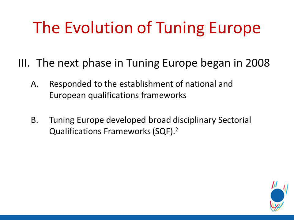 III.The next phase in Tuning Europe began in 2008 A.Responded to the establishment of national and European qualifications frameworks B.Tuning Europe developed broad disciplinary Sectorial Qualifications Frameworks (SQF).