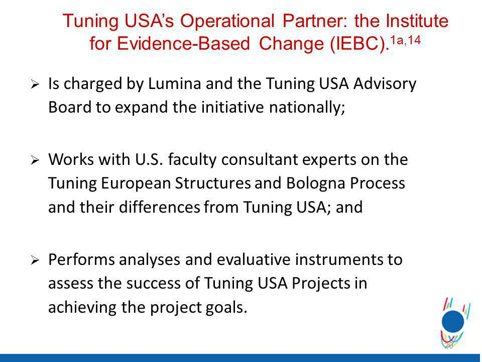 Tuning USAs Operational Partner: the Institute for Evidence-Based Change (IEBC).