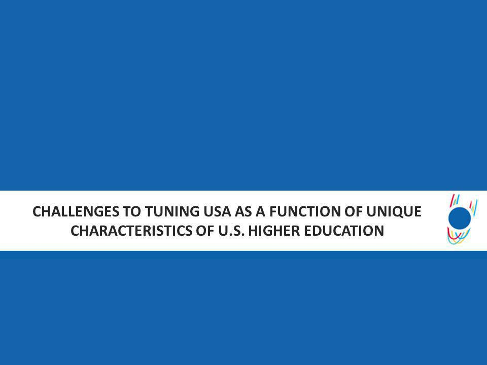 CHALLENGES TO TUNING USA AS A FUNCTION OF UNIQUE CHARACTERISTICS OF U.S. HIGHER EDUCATION