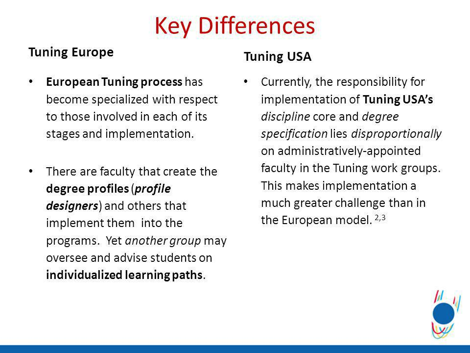Key Differences Tuning Europe European Tuning process has become specialized with respect to those involved in each of its stages and implementation.