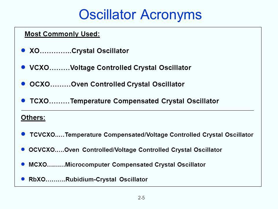 2-5 Most Commonly Used: XO…………..Crystal Oscillator VCXO………Voltage Controlled Crystal Oscillator OCXO………Oven Controlled Crystal Oscillator TCXO………Tempe