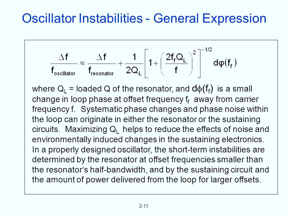 2-11 where Q L = loaded Q of the resonator, and d (f f ) is a small change in loop phase at offset frequency f f away from carrier frequency f. System
