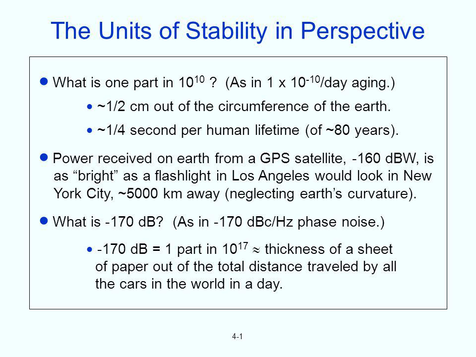4-1 What is one part in 10 10 ? (As in 1 x 10 -10 /day aging.) ~1/2 cm out of the circumference of the earth. ~1/4 second per human lifetime (of ~80 y