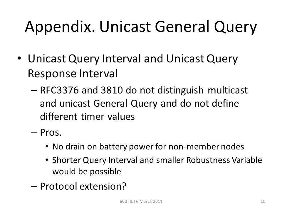 Appendix. Unicast General Query Unicast Query Interval and Unicast Query Response Interval – RFC3376 and 3810 do not distinguish multicast and unicast