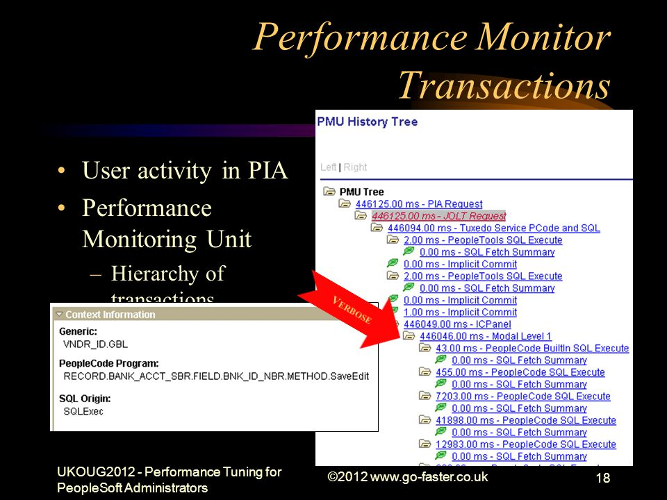 Performance Monitor Transactions User activity in PIA Performance Monitoring Unit –Hierarchy of transactions Similar to Oracle event 10046 trace –recu
