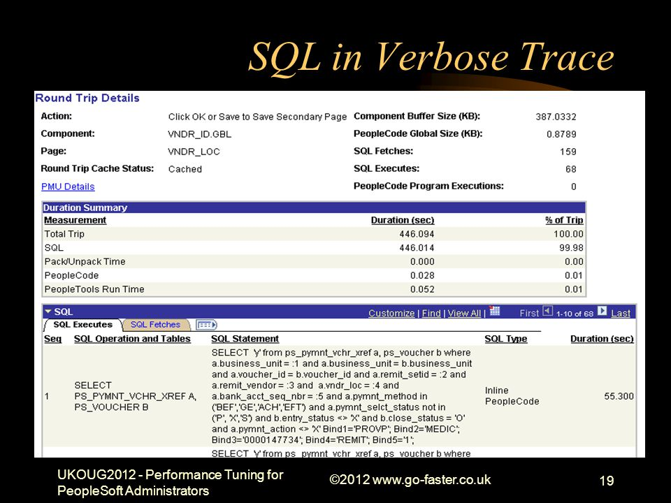 SQL in Verbose Trace UKOUG2012 - Performance Tuning for PeopleSoft Administrators ©2012 www.go-faster.co.uk 19