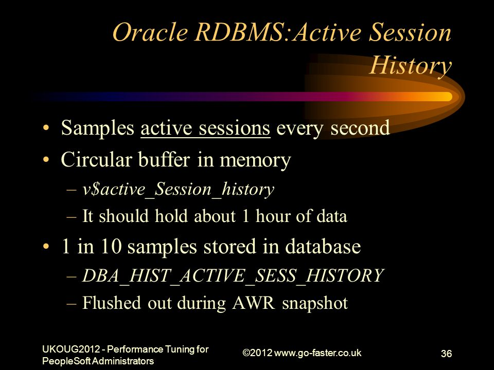 Oracle RDBMS:Active Session History Samples active sessions every second Circular buffer in memory –v$active_Session_history –It should hold about 1 h